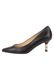 Womens Black Leather Cassandra Pointed Toe Low Heel Pump 6