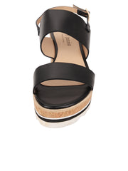 Womens Black Leather Cool Platform Sandal 4