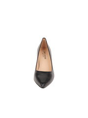 Womens Black Leather JASMINE Block Heel Pump 4