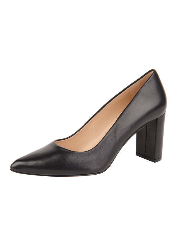 Womens Black Leather JASMINE Block Heel Pump