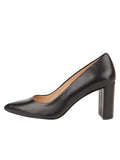 Womens Black Leather JASMINE Block Heel Pump 6