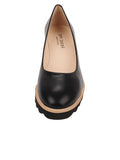 Womens Black Leather Katie Lug Pump 4