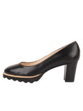 Womens Black Leather Katie Lug Pump 6