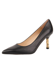 Womens Black Leather Nova Pointed Toe High Heel Pump