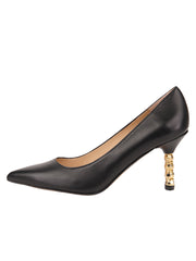 Womens Black Leather Nova Pointed Toe High Heel Pump 6