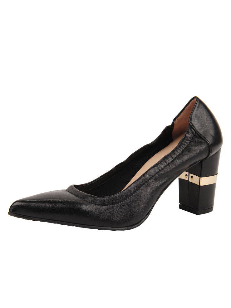 Womens Black Leather Party Rock And Roll Pump