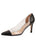 Womens Black Leather Punta Pointed Toe Vinyl Pump