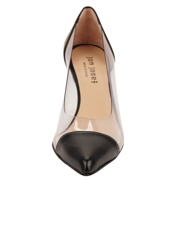 Womens Black Leather Punta Pointed Toe Vinyl Pump 4