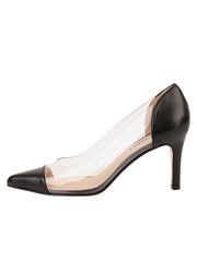 Womens Black Leather Punta Pointed Toe Vinyl Pump 6