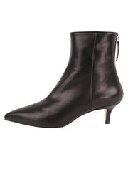 Womens Black Leather Kitten Bootie 6