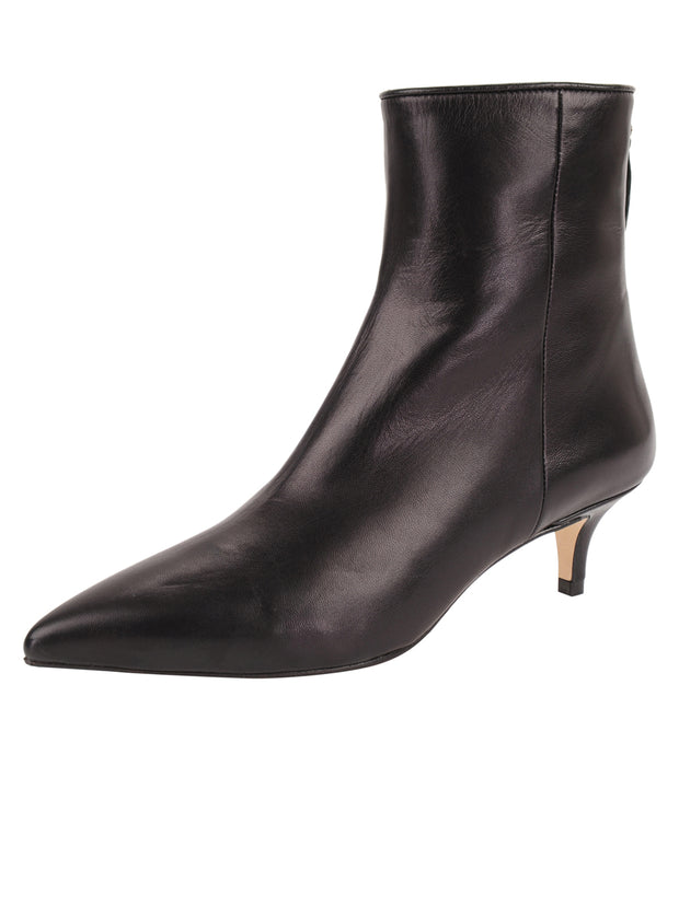 Womens Black Leather Kitten Bootie