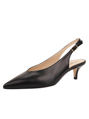 Womens Black Leather Slingback Pump