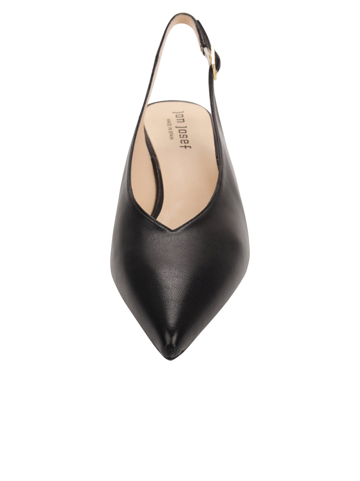 Womens Black Leather Slingback Pump 4