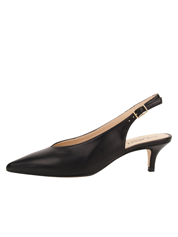 Womens Black Leather Slingback Pump 6