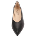 Womens Black Leather Mid-Heel Pump 4
