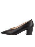 Womens Black Leather Mid-Heel Pump 6
