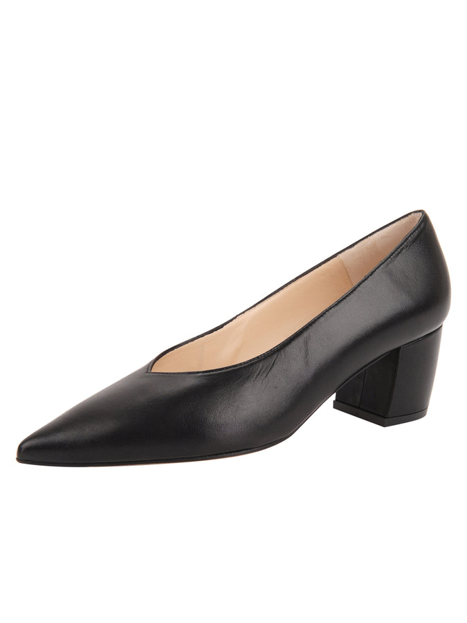 Womens Black Leather Mid-Heel Pump