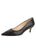 Womens Black Leather Kitten Heel