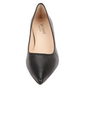 Womens Black Leather Kitten Heel 5