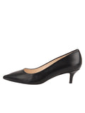 Womens Black Leather Kitten Heel 6