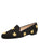 Womens Black Linen W-Gold Fly Flat