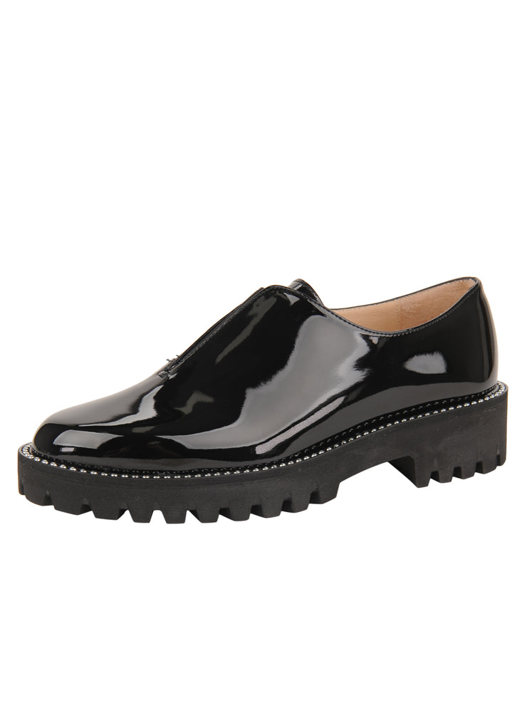 Womens Black Patent GOLF LUG SOLED SLIP ON SHOE
