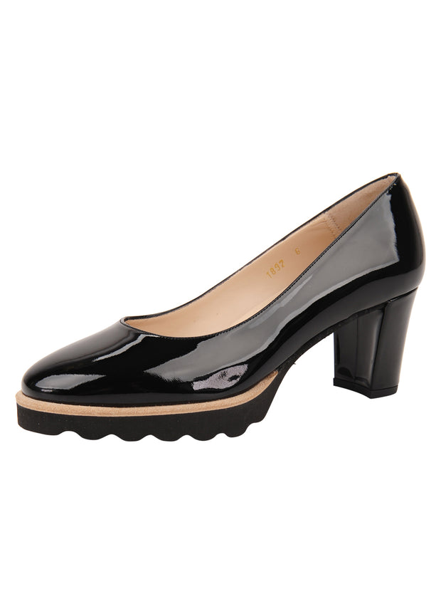 Womens Black Patent Katie Lug Pump