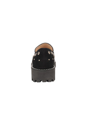Womens Black Suede/Pewter Studded Lug Loafer 2