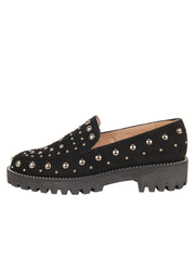 Womens Black Suede/Pewter Studded Lug Loafer 6