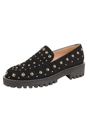 Womens Black Suede/Pewter Studded Lug Loafer