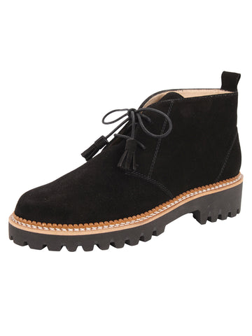 Womens Black Suede Ankle Boot