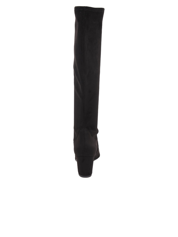 Tall black suede stretch boot 2