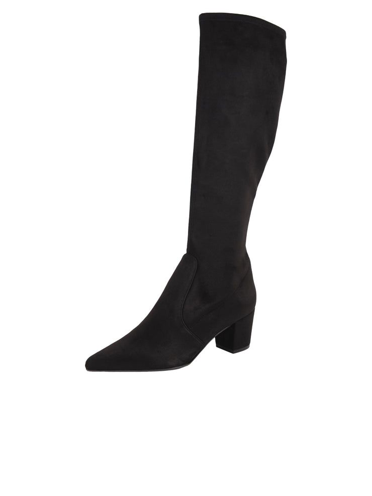 Tall black suede stretch boot