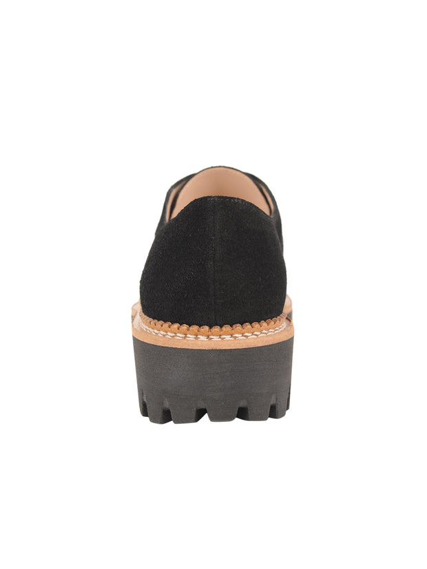 Womens Black Suede GOLF LUG SOLED SLIP ON SHOE 2