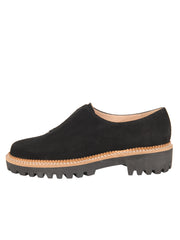 Womens Black Suede GOLF LUG SOLED SLIP ON SHOE 6