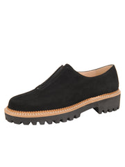 Womens Black Suede GOLF LUG SOLED SLIP ON SHOE