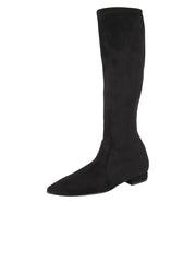 Womens Black Suede MARLY LOW HEEL BOOT