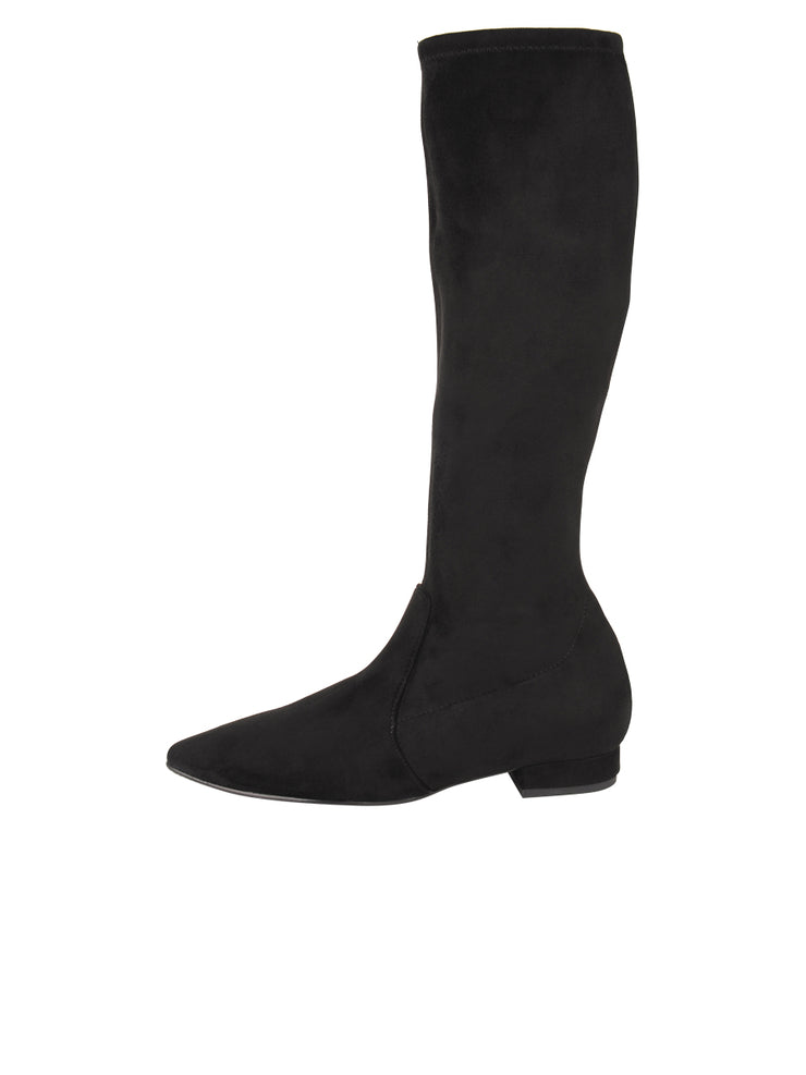 Womens Black Suede MARLY LOW HEEL BOOT 6