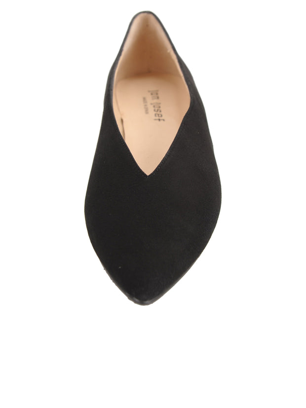 Womens Black Suede Pointed Toe Flat 4