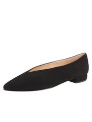 Womens Black Suede Pointed Toe Flat