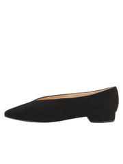 Womens Black Suede Pointed Toe Flat 6