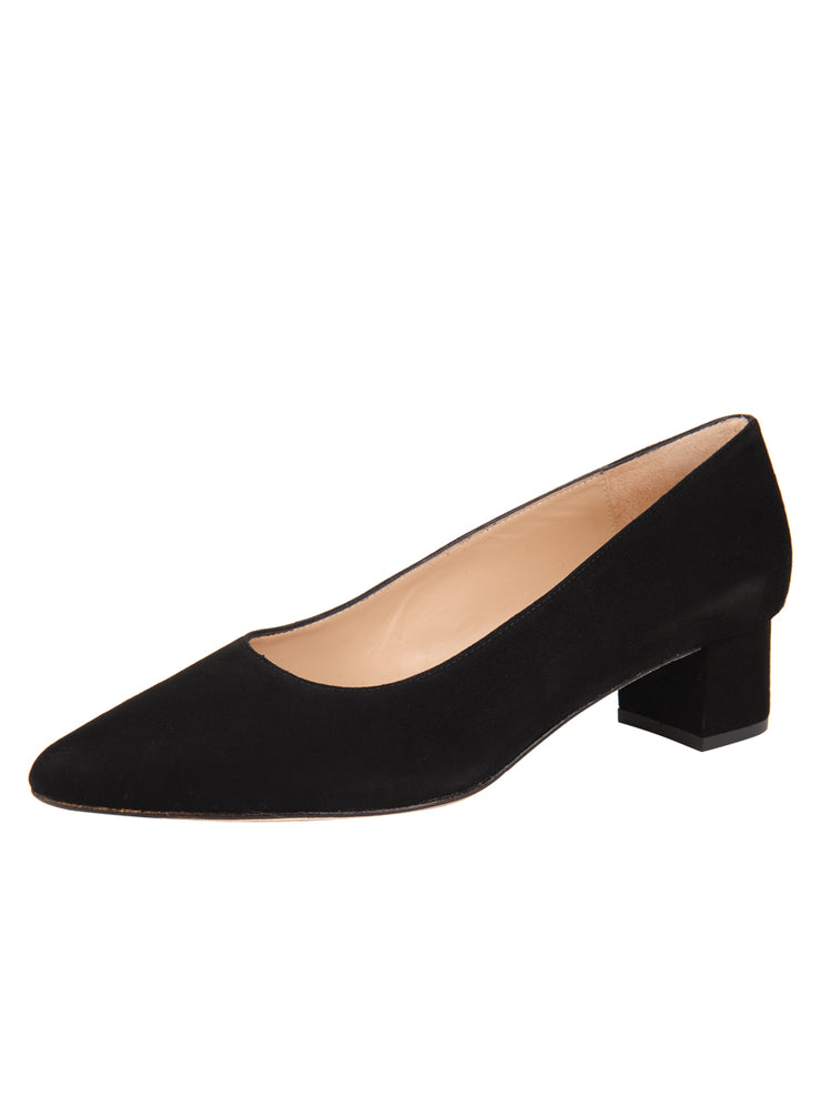 Womens Black Suede BOSTON Low Block Heel