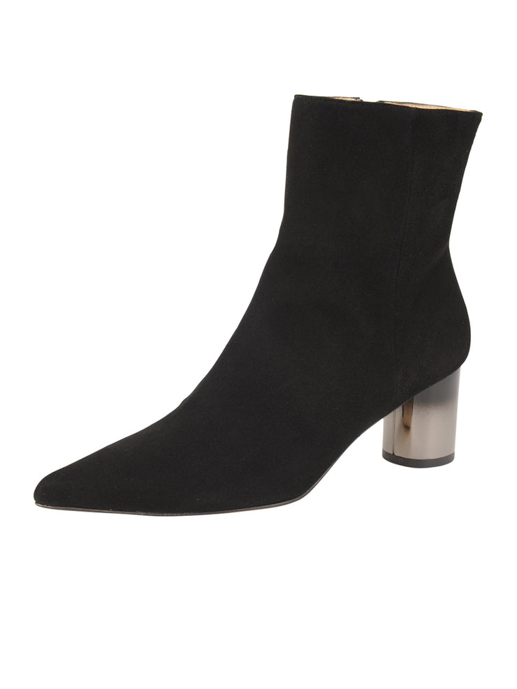 Womens Black Suede CIUDAD POINTED TOE BOOTIE