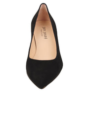 Womens Black Suede Cassandra Pointed Toe Low Heel Pump 4