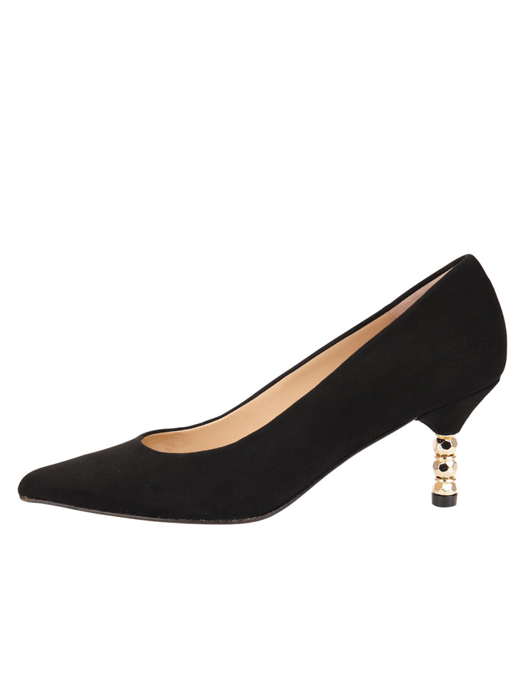 Womens Black Suede Cassandra Pointed Toe Low Heel Pump 6