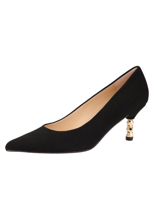 Womens Black Suede Cassandra Pointed Toe Low Heel Pump
