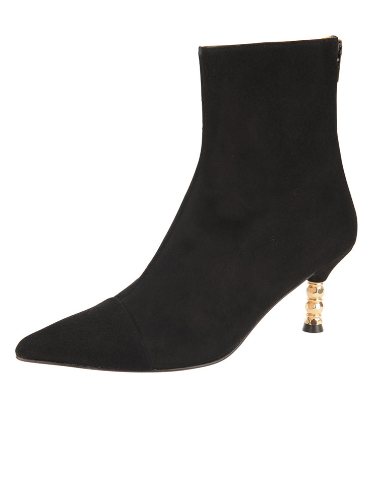 Womens Black Suede Cast Low Heel Pointed Toe Bootie