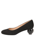 Womens Black Suede DINA LOW HEEL PUMP 6