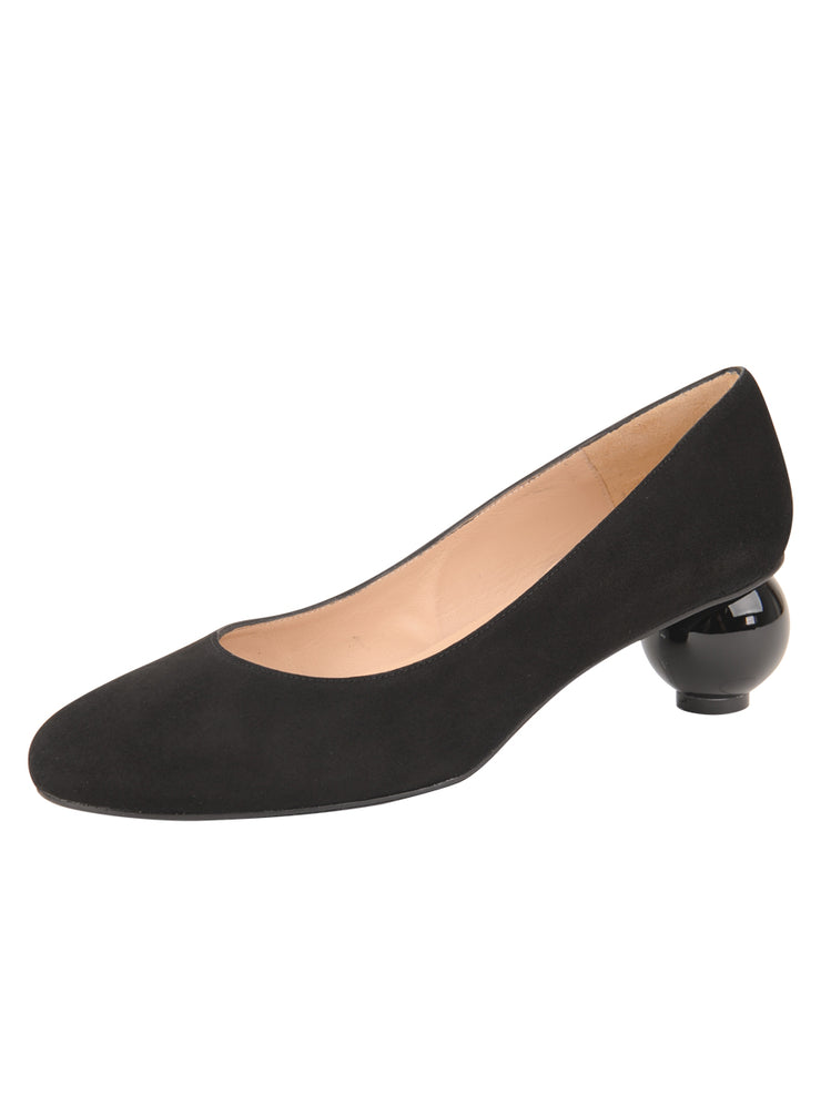 Womens Black Suede DINA LOW HEEL PUMP