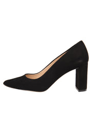 Womens Black Suede JASMINE Block Heel Pump 6